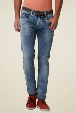 Peter England Light Blue Ultra Slim Fit Cotton Jeans