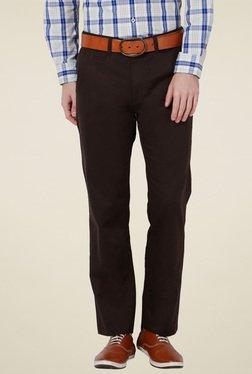 Peter England Dark Brown Slim Fit Trousers