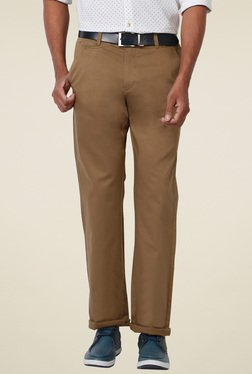 Peter England Brown Slim Fit Trousers
