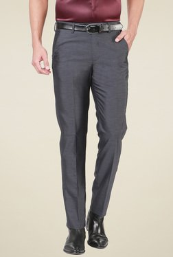 Peter England Grey Slim Fit Mid Rise Trousers