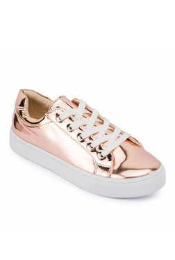 Truffle Collection Rose Gold Casual Sneakers