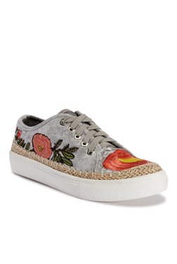 Truffle Collection Grey & Red Espadrille Sneakers