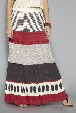 Bombay Paisley By Westside Off White Striped Skirt
