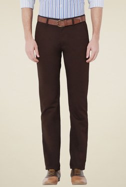 Peter England Brown Slim Fit Flat Front Trousers