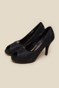 Metro Black Studded Peep Toe Stilettos