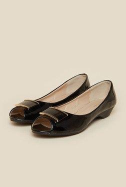 Metro Black Peep Toe Ballerina Shoes