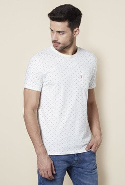 Levi's White Printed Crew Neck T-Shirt