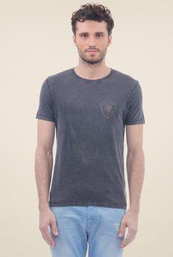 Flying Machine Dark Grey Round Neck Cotton T-Shirt
