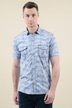 Pepe Jeans Steel Blue Slim Fit Cotton Shirt