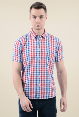 Pepe Jeans Blue & Red Checks Regular Fit Cotton Shirt