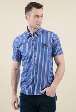 Pepe Jeans Dark Blue Short Sleeves Cotton Shirt