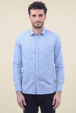 Flying Machine Light Blue Printed Cotton Shirt
