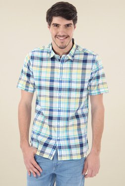 Flying Machine Yellow & White Half Sleeves Checks Shirt