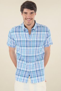 Flying Machine Blue & White Half Sleeves Checks Shirt