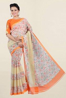 Jashn Peach Floral Print Bhagalpuri Silk Saree