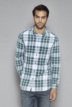 Nuon By Westside White & Green Slim Fit Shirt