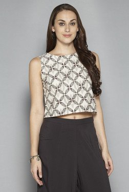 Bombay Paisley By Westside Off White Printed Crop Top