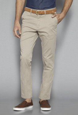 Ascot By Westside Beige Slim Fit Trousers With Belt