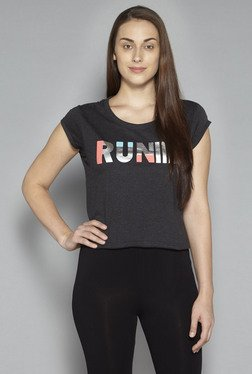Studiofit By Westside Charcoal Printed T Shirt