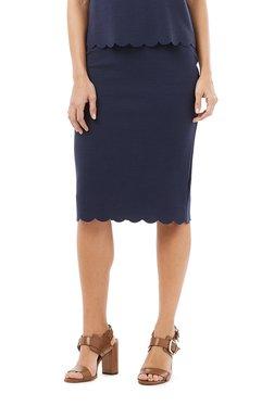 Phase Eight Navy Textured Skirt