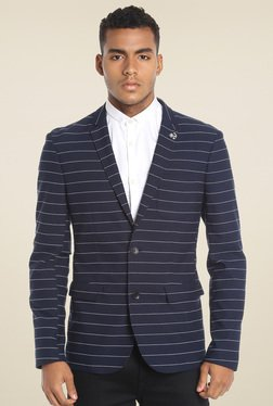 Jack & Jones Navy Slim Fit Striped Blazer