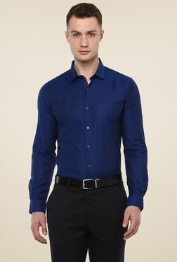 Turtle Navy Slim Fit Full Sleeves Shirt