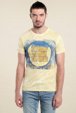 Jack & Jones Yellow Printed Crew Neck T-Shirt