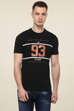 Turtle Black Slim Fit Round Neck Graphic Printed T-Shirt