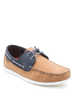 Red Tape Tan & Navy Boat Shoes