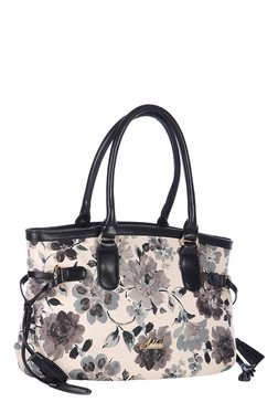 Addons White & Grey Floral Print Shoulder Bag