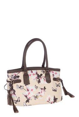 Addons Cream Floral Print Shoulder Bag