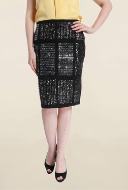Vero Moda Black Embellished Knee Length Skirt