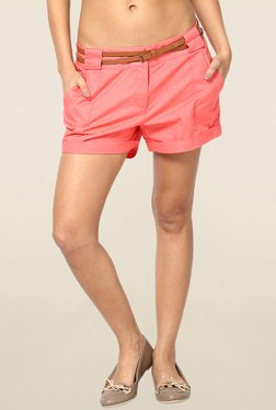 Vero Moda Peach Solid Cotton Shorts