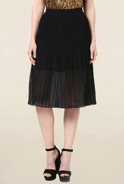 Vero Moda Black Solid Knee Length Skirt - Mp000000001527615