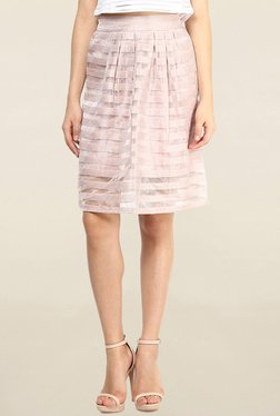 Vero Moda Peach Embellished Knee Length Skirt