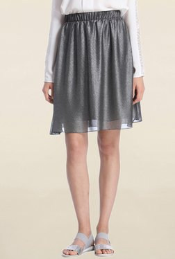Vero Moda Silver Textured Knee Length Skirt
