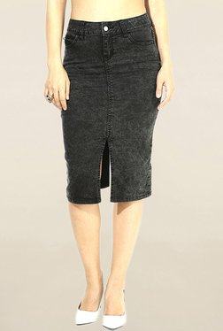 Vero Moda Black Solid Knee Length Skirt - Mp000000001527563