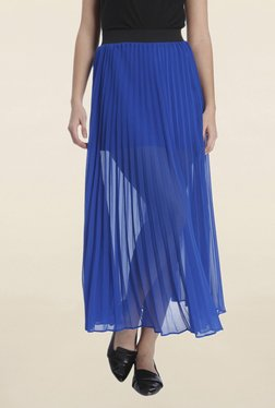 Vero Moda Blue Solid Maxi Skirt