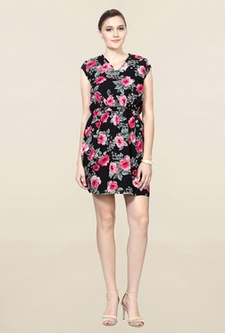 Solly By Allen Solly Black Floral Print Above Knee Dress