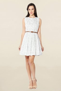 Solly By Allen Solly White Floral Print Above Knee Dress - Mp000000001533931