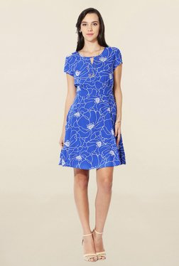 Solly By Allen Solly Blue Printed Above Knee Dress