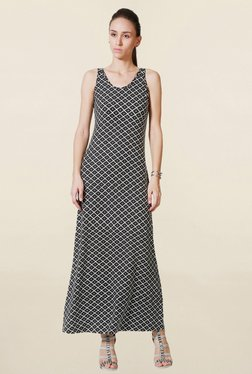 Solly By Allen Solly Black Printed Maxi Dress