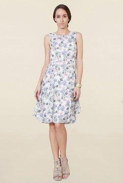 Solly By Allen Solly White Floral Print Knee Length Dress