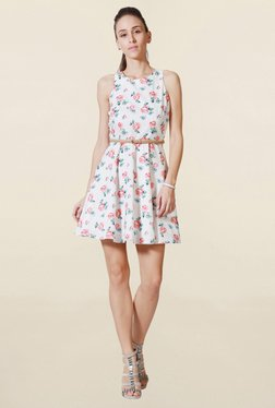 Solly By Allen Solly White Floral Print Above Knee Dress