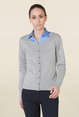 Solly By Allen Solly Grey Textured Cardigan