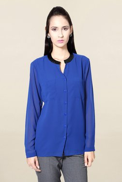 Solly By Allen Solly Blue Regular Fit Solid Shirt - Mp000000001536875
