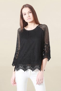 Solly By Allen Solly Black Lace Top