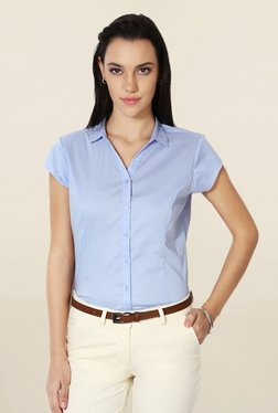 Solly By Allen Solly Blue Regular Fit Solid Shirt