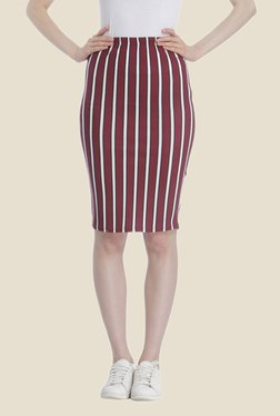 Only Maroon Striped Knee Length Skirt