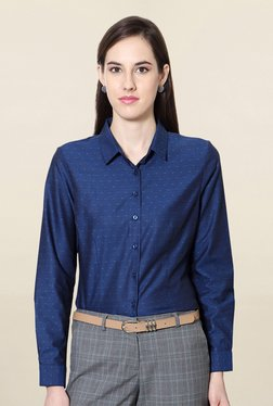 Solly By Allen Solly Blue Regular Fit Printed Shirt